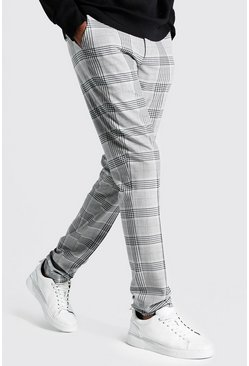 Grey Tall Straight Leg Windowpane Check Smart Trouser
