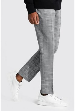 Tall Straight Leg  Check Cropped Smart Trouser, Grey
