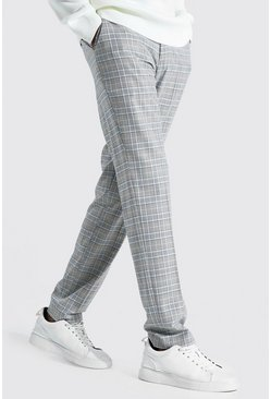 Blue Tall Straight Leg  Check Cropped Smart Trouser