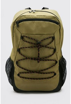 Rucksack With Lace Up Detail, Khaki