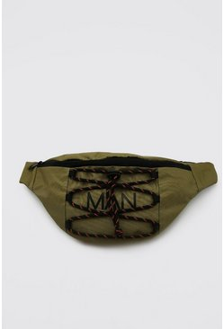 Man Branded Bumbag With Lace Up Detail, Khaki