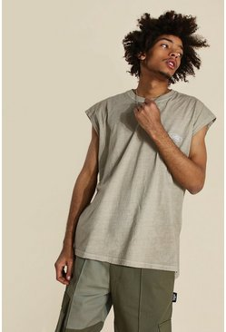 Brown Oversized Worldwide Washed Tank