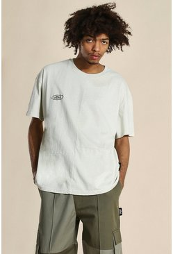 Stone Oversized Official Panelled Washed T-shirt