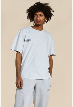 Grey Oversized Official Panelled Washed T-shirt