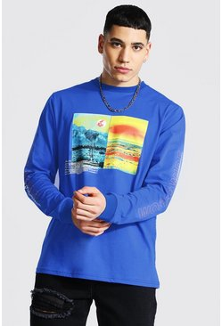 Blue Graphic Long Sleeve Print T-shirt