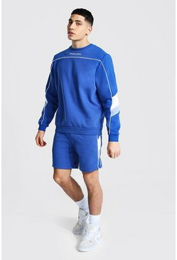 Blue Official Man Short Sweater Tracksuit
