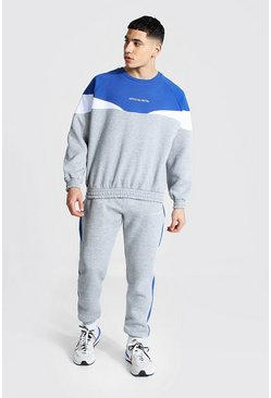 Blue Official Man Colour Block Tracksuit