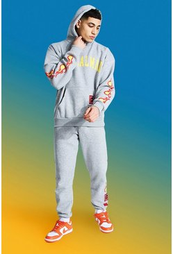 Grey marl Official Man Hooded Tracksuit With Fire Print