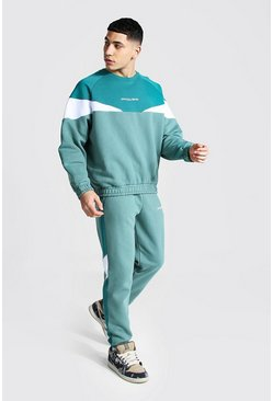 Official Man Colour Block Tracksuit, Green