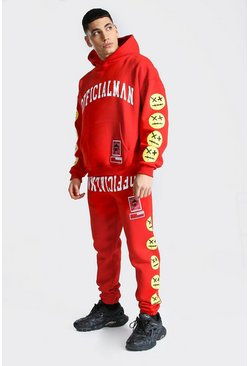 Red Official Man Spray Face Hooded Tracksuit