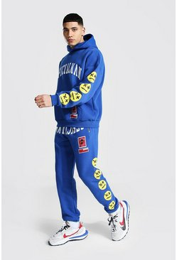 Blue Official Man Spray Face Hooded Tracksuit
