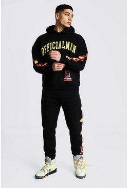 Black Official Man Hooded Tracksuit With Fire Print