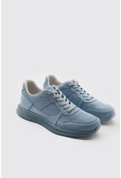 Blue Suede Panel Trainer