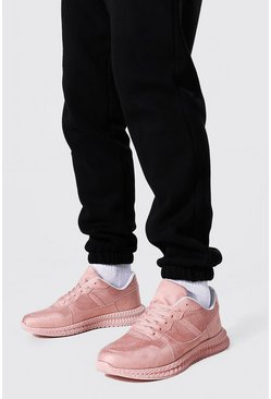 Pink Suede Panel Trainer