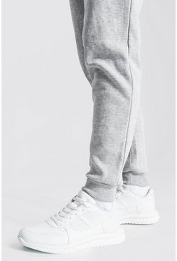 Suede Panel Trainer, White