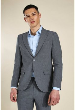 Slim Grey Single Breasted Suit Jacket