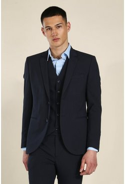 Skinny Dark Navy Single Breasted Jacket
