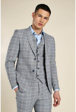 Skinny Grey Check Single Breasted Jacket