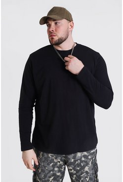 Black Plus Size Basic Long Sleeve T-shirt