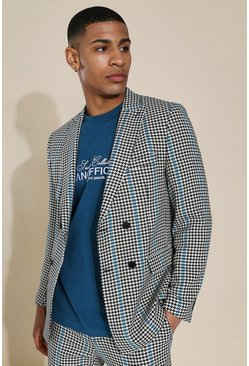 Skinny Black Dogtooth Double Breasted Jacket