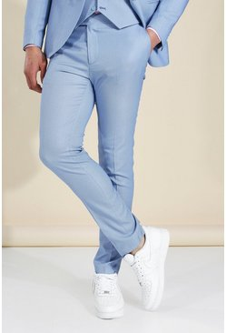 Blue Skinny Textured Suit Trousers