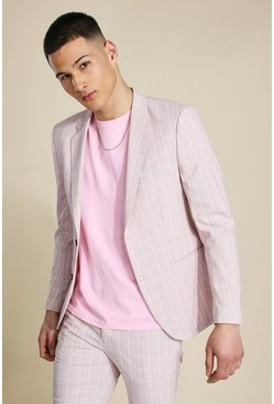 Skinny Pink Check Single Breasted Suit Jacket