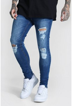 Light blue Super Skinny Jeans With All Over Rips