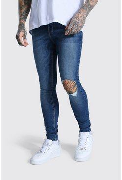 Mid blue Super Skinny Washed Denim Jean With Rips