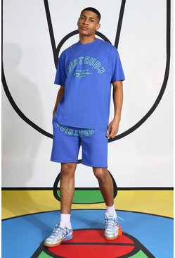 Oversized Courtside Print T-shirt & Short Set, Blue