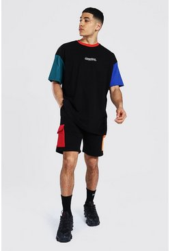 T-shirt oversize color block et short, Black