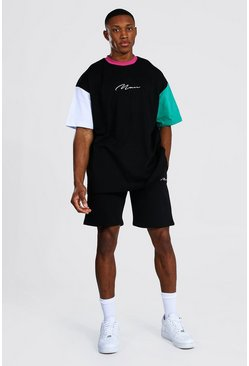 T-shirt oversize color block et short - MAN, Black