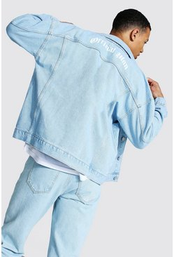 Light blue Tall Official Man Print Boxy Denim Jacket