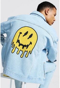 Tall - Veste en jean coupe carrée imprimé smiley, Light blue