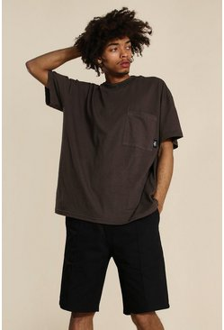 Brown Oversized Worldwide High Neck Washed T-shirt