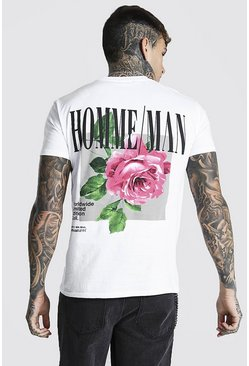 White Floral Back Print T-shirt