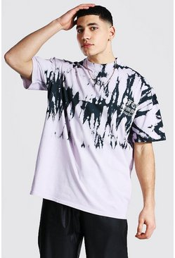 Purple Oversized Extended Neck Tie Dye T-shirt