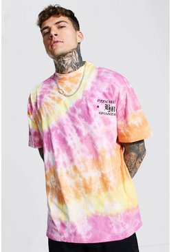 Multi Oversized Extended Neck Tie Dye T-shirt