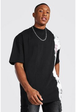 Black Oversized Extended Neck Tie Dye T-shirt