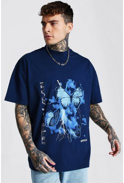 Navy Oversized Extended Neck Graphic T-shirt