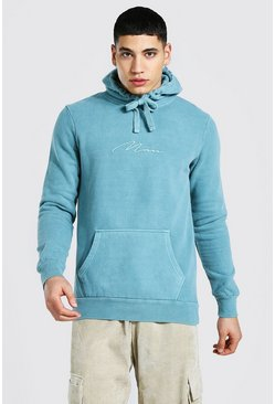 Duck egg Man Signature Embroidered Washed Hoodie