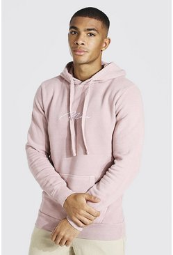 Dusky pink Man Signature Embroidered Washed Hoodie