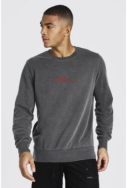 Charcoal Man Signature Embroidered Washed Sweatshirt