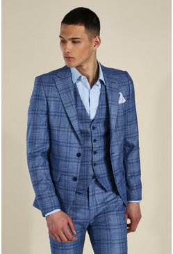Skinny Blue Check Single Breasted Jacket