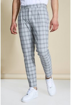 Slim Pleat Front Grey Check Trouser