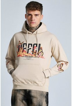 Sand Offcl Butterfly Graphic Hoodie
