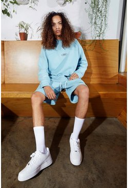 Blue Oversized Official Raglan Sweater Tracksuit