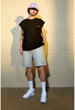 Grey marl Oversized Official Waistband Jersey Shorts
