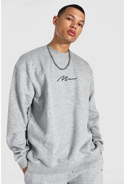 Grey marl Tall Recycled MAN Script Oversized Sweater