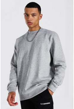 Tall Recycled Regular Fit Sweater, Grey marl