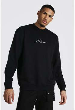 Tall Recycled MAN Script Oversized Sweater, Black